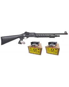 "Uzkon ZK-18 Semi-Auto Shotgun - Black | 12ga | 19.5"" Barrel | Synthetic Furniture Bundled w/ TWO CASES of Black Aces Tactical 12ga Buckshot 2.75 inch Shotgun Shells - 9 pellets | 00 Buck | 1425 fps | Zinc coated steel casing"