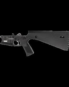 Wraithworks WARP-15 Polymer Complete AR15 Lower Receiver - Black | Mil-Spec Parts Kit | Integral Buttstock & Textured Pistol Grip | Trap Door Buttplate