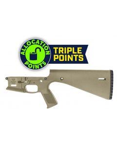 Wraithworks WARP-15 Polymer Stripped AR15 Lower Receiver - FDE | Integral Buttstock & Pistol Grip | Trap Door Buttplate