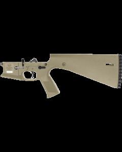 Wraithworks WARP-15 Polymer Complete AR15 Lower Receiver - FDE | Mil-Spec Parts Kit | Integral Buttstock & Textured Pistol Grip | Trap Door Buttplate