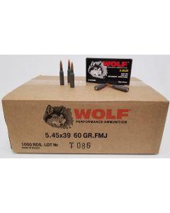 Wolf Steel Case 5.45x39 Rifle Ammo- 60 Grain   FMJ   1000rd Case