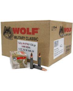 Wolf Steel Case 7.62X39mm Rifle Ammo- 124 Grain | FMJ | 1000rd Case