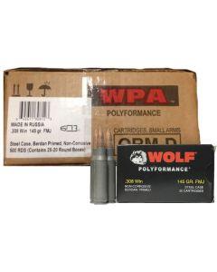 Wolf Steel Case .308 Win Rifle Ammo- 145 Grain | FMJ | 500rd Case