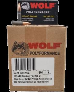 Wolf Steel Case .300 Blackout Rifle Ammo- 145 Grain | FMJ | 500rd Case