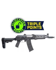 "Zastava ZPAP85 Alpha AK-47 Pistol - Stained Wood Handguard | 5.56NATO | 10"" Barrel | Booster Brake | SBA3 Arm Brace"