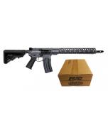 "Battle Arms Development Billet AUTHORITY Elite AR Rifle - Combat Grey | .223 WYLDE | 16"" Barrel | 15"" M-LOK Free-Float Rail | B5 Stock | Nickel Teflon Trigger Bundled w/ PMC Bronze .223 Remington Rifle Ammo - 55 Grain | FMJ-BT | 1 Case (50 boxes)"