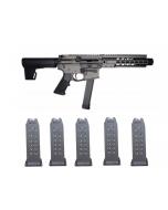 "RWB Glock 9mm Magazine 15rd Gen 2 Fits Glock 19, 26 (5) & Brigade MFG BM-9 Forged Aluminum AR Pistol - Grey | 9mm | 9"" Barrel | 8"" U-LOC Rail | Faux Can | KAK Blade"